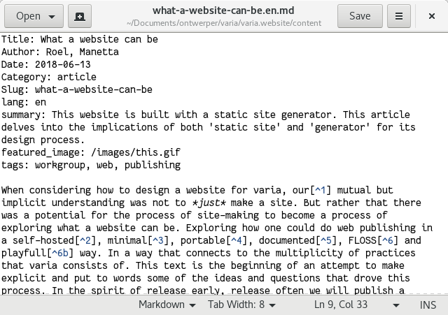 This article in its plain text 'view', showing the markdown mark-up language.